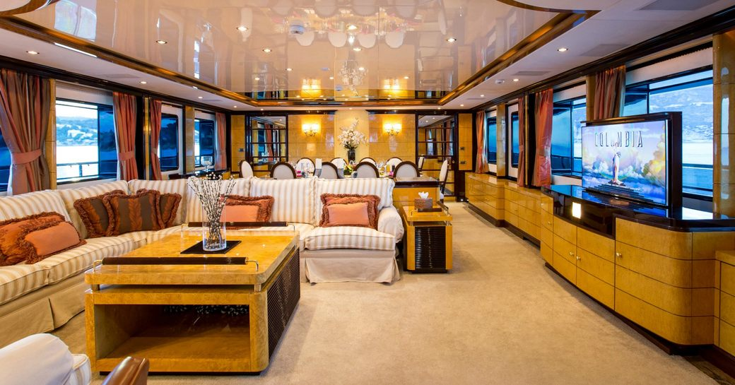 timeless main salon with sumptuous lounge aboard superyacht DIANE