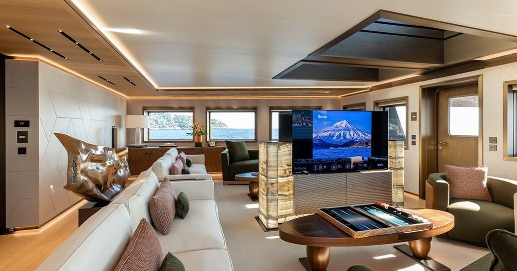 main salon on luxury yacht la datcha