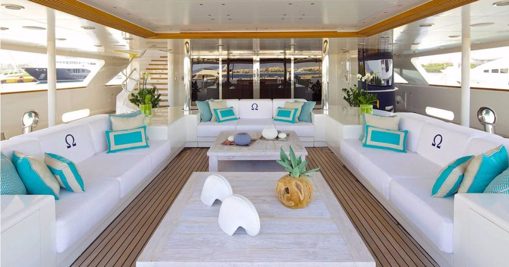 Exterior seating on superyacht O'MEGA