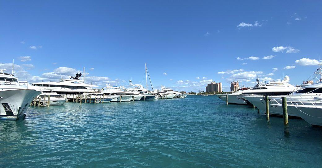 bows of yachts at the bahamas charter show 2020
