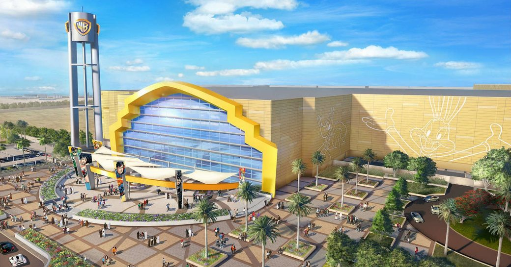 outside view of Warner Bros. World Abu Dhabi with Bugs Bunny and Daffy Duck painted on the walls
