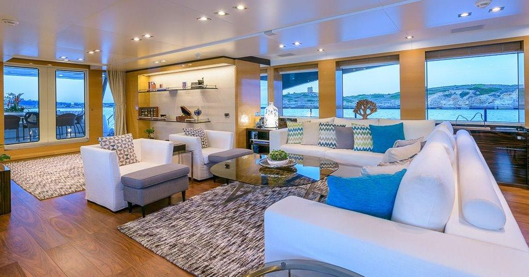 sumptuous seating area in the main salon of superyacht Africa I