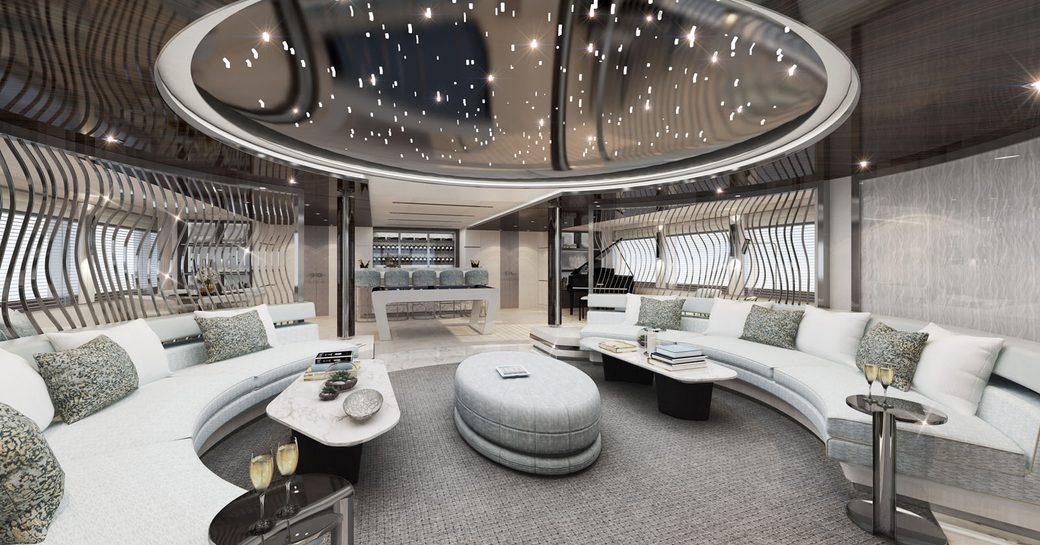 main salon on charter yacht tatiana