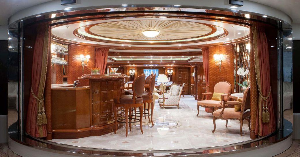 The main salon of luxury yacht St David