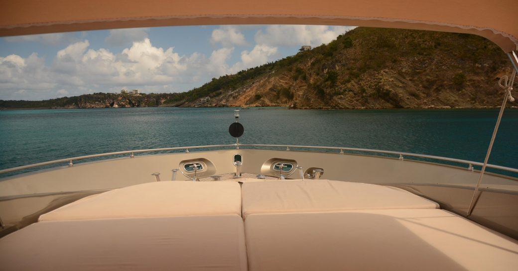 Superyacht Tender To Bimini shade on sunpad