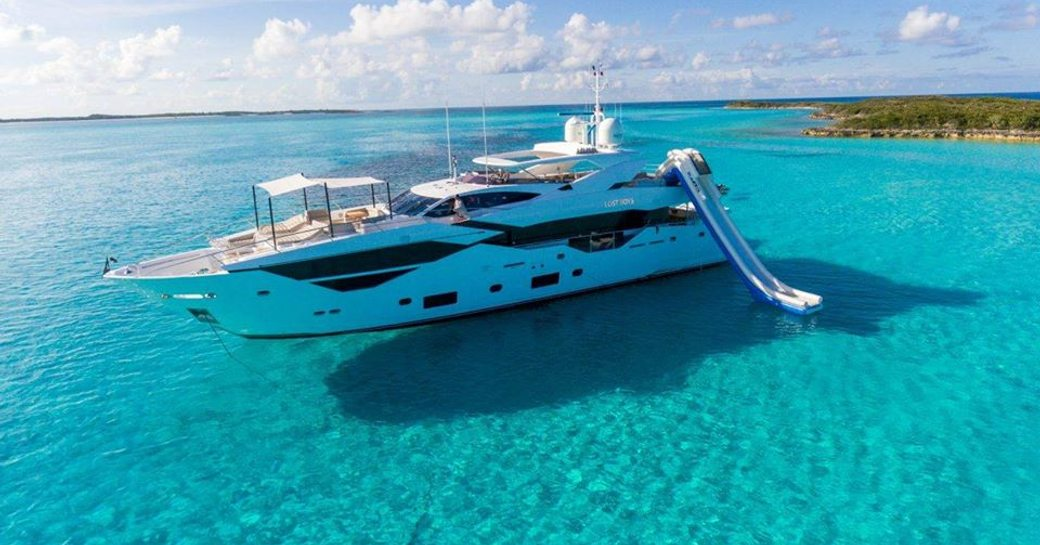 luxury yacht in the blue sea of the exumas