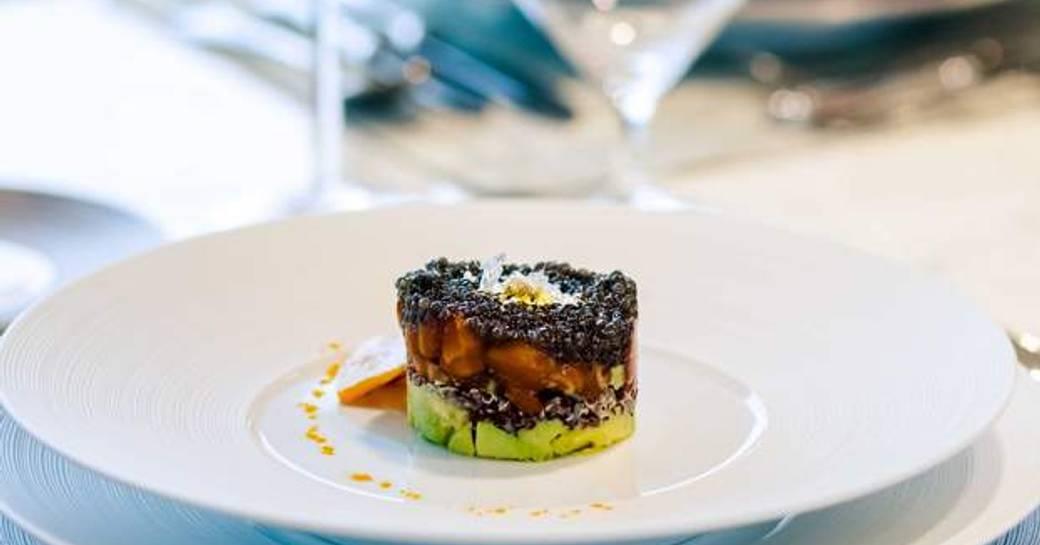 five star cuisine on board luxury charter yacht