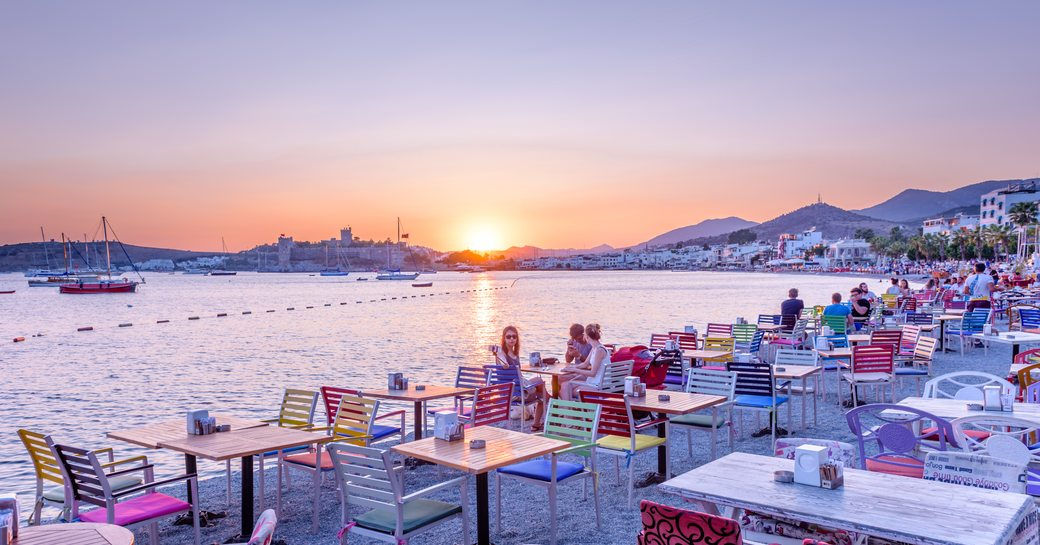 Marmaris, Turkey as night falls on the marina