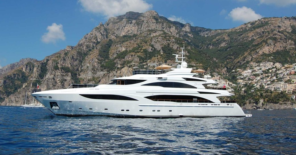 charter yacht DIANE anchors in the Mediterranean on a luxury yacht charter