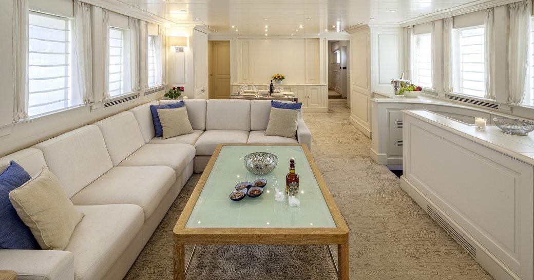 The main salon of motor yacht HARMONYA