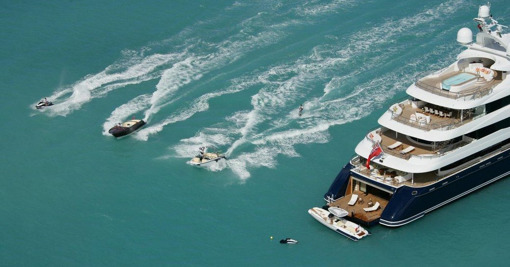 Jetskis and an additional tender close to superyacht AMARYLLIS