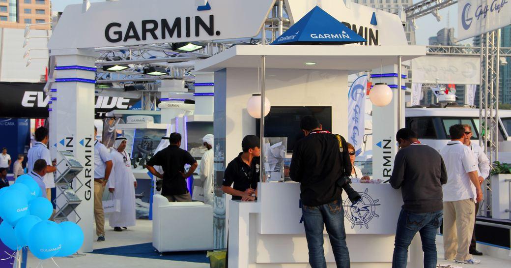 GARMIN company stand during Dubai International Boat Show