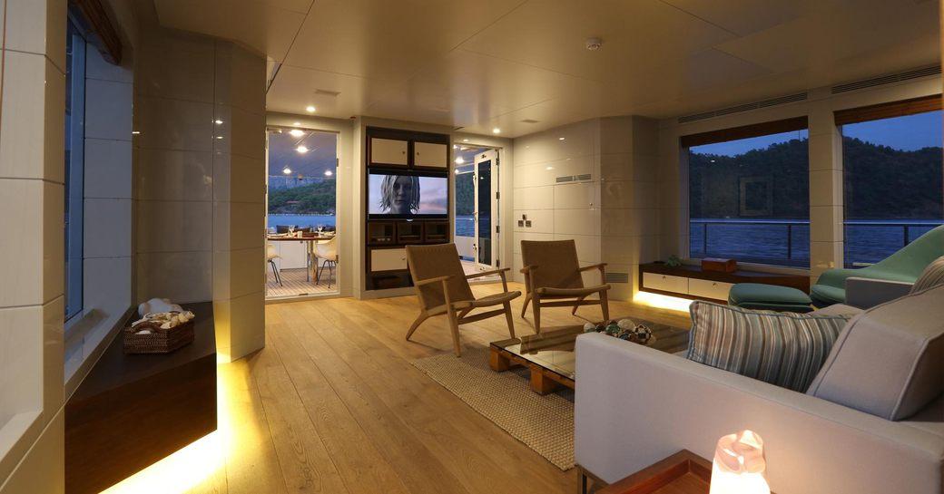 main salon on luxury yacht only now