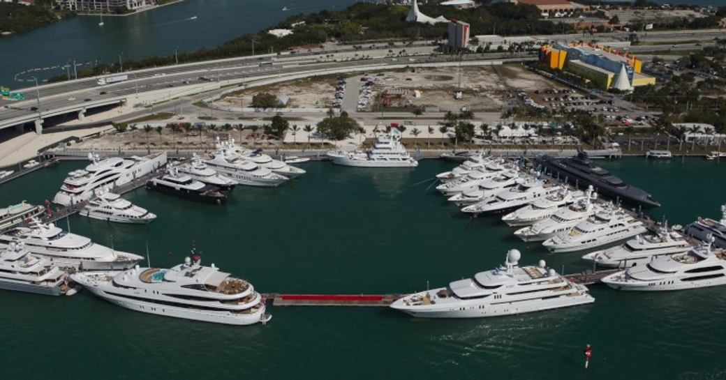 An aerial view of superyachts berthed at the Miami Yacht Show