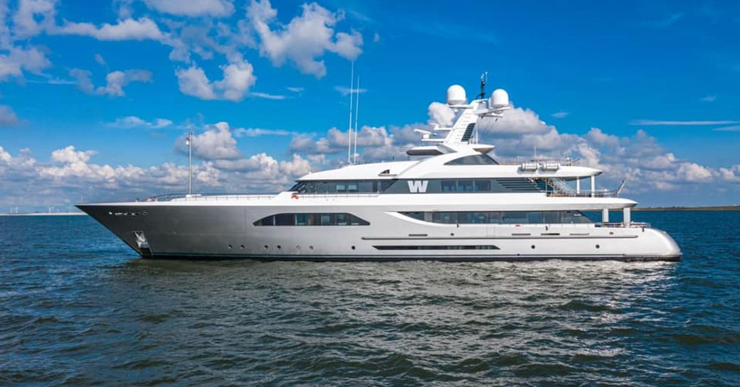 Luxury yacht W by Feadship side profile while at anchor