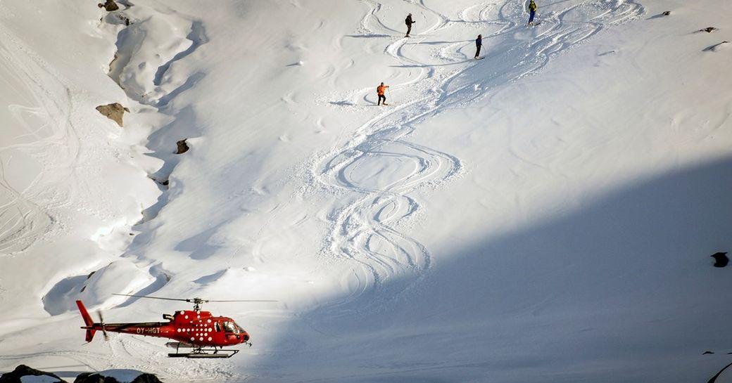 Yacht charter ski excursion