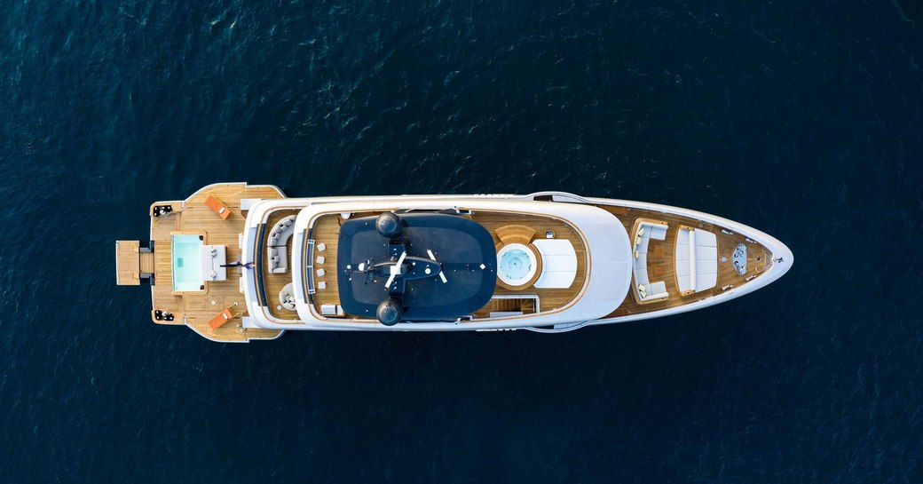 aerial view of benetti superyacht rebeca, with jacuzzi and pool