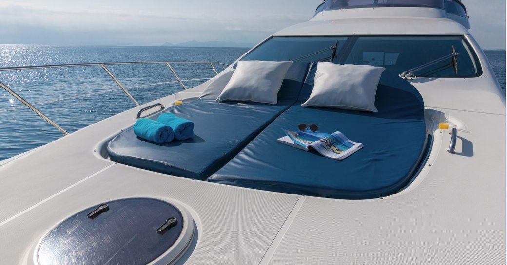 Foredeck sunpads on luxury yacht ALMAZ