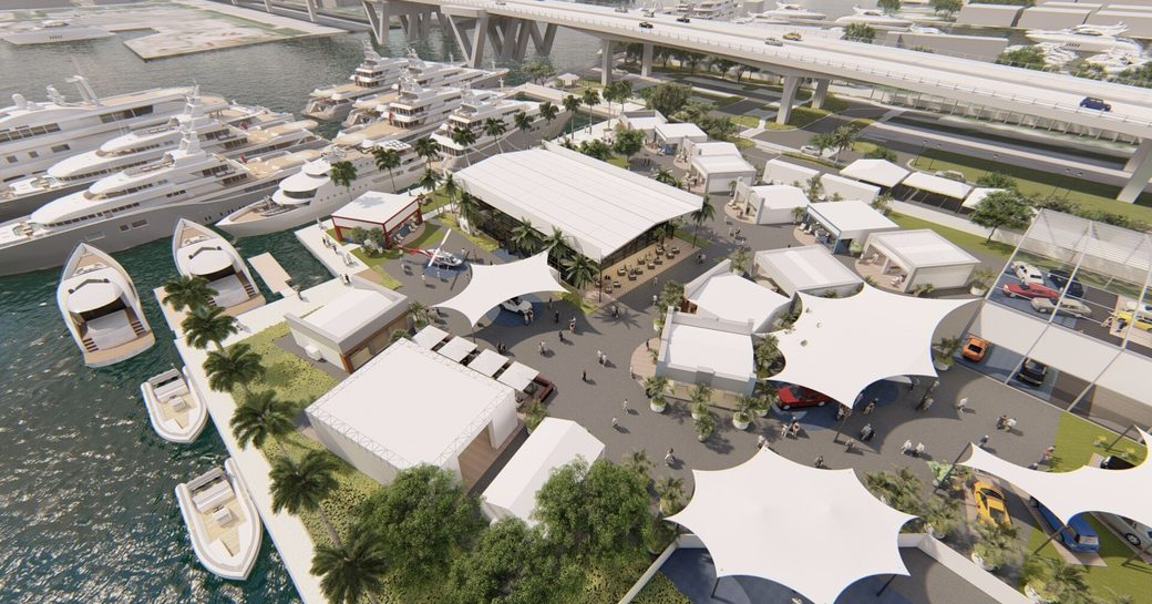 FLIBS 2019 superyacht village aerial rendering