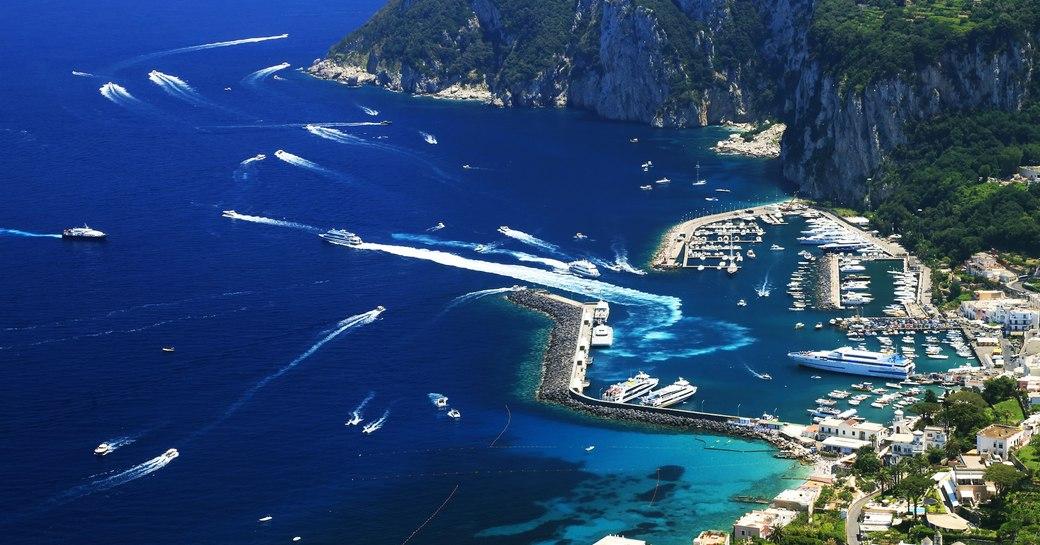 Yachts in the slips at marina grande in capri