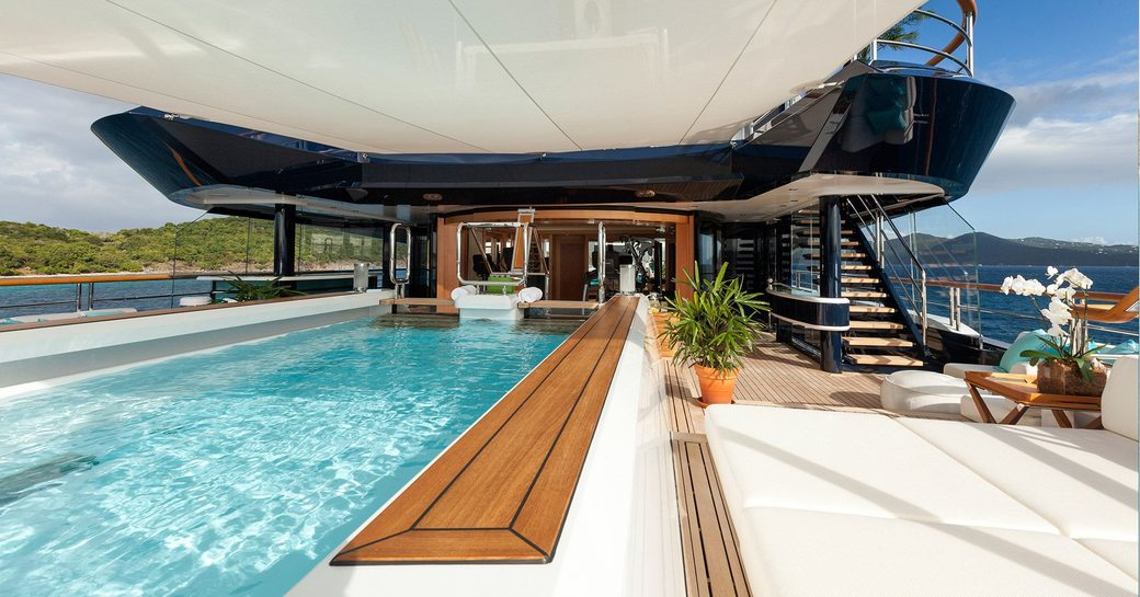 Pool area on luxury yacht SOLANDGE