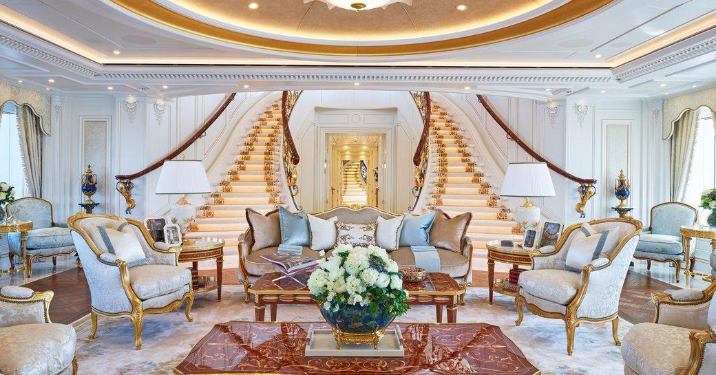 Grand interiors on board luxury charter yacht TIS