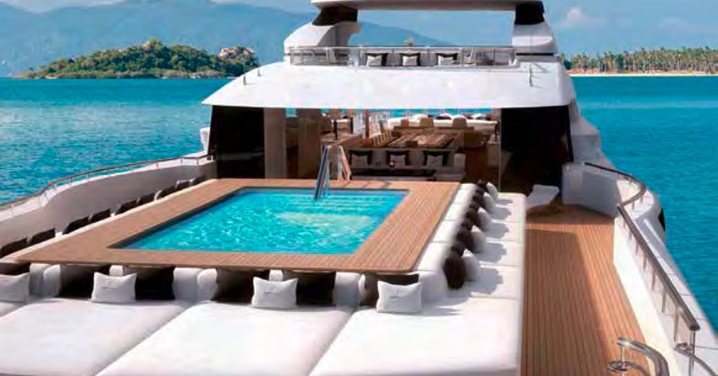 sundeck pool on benetti yacht lana
