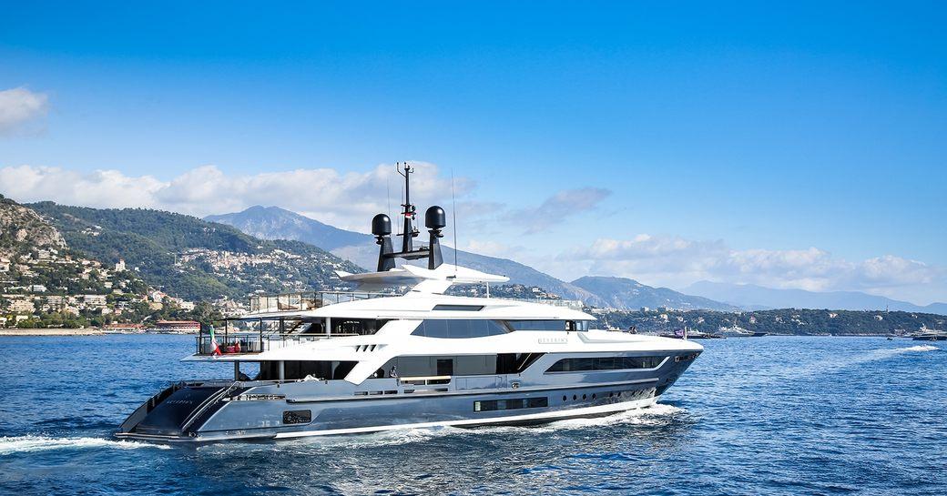 the luxury charter yacht severin's underway in the Mediterranean