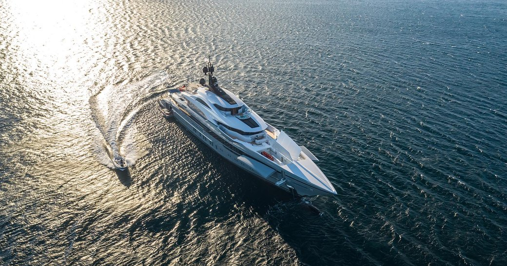 aerial shot of bilgin yachts tatiana at sunset