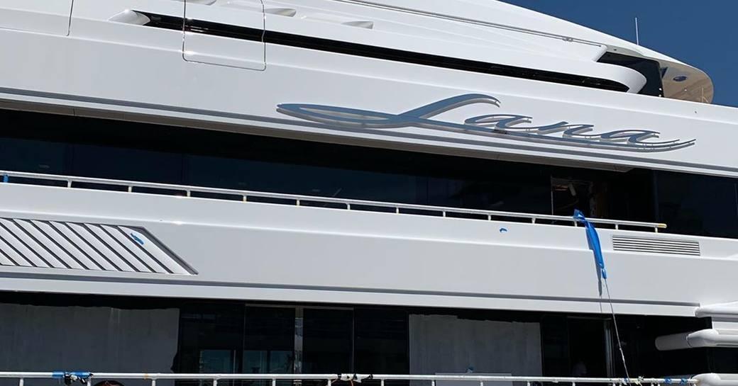 nameplate of luxury yacht lana