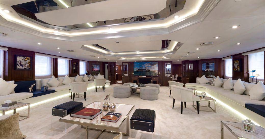 Expansive main salon on Superyacht CHAKRA