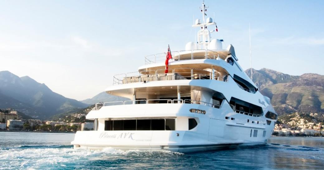 aft view of sunseeker luxury yacht 'Princess AVK' while in the Mediterranean on a yacht charter
