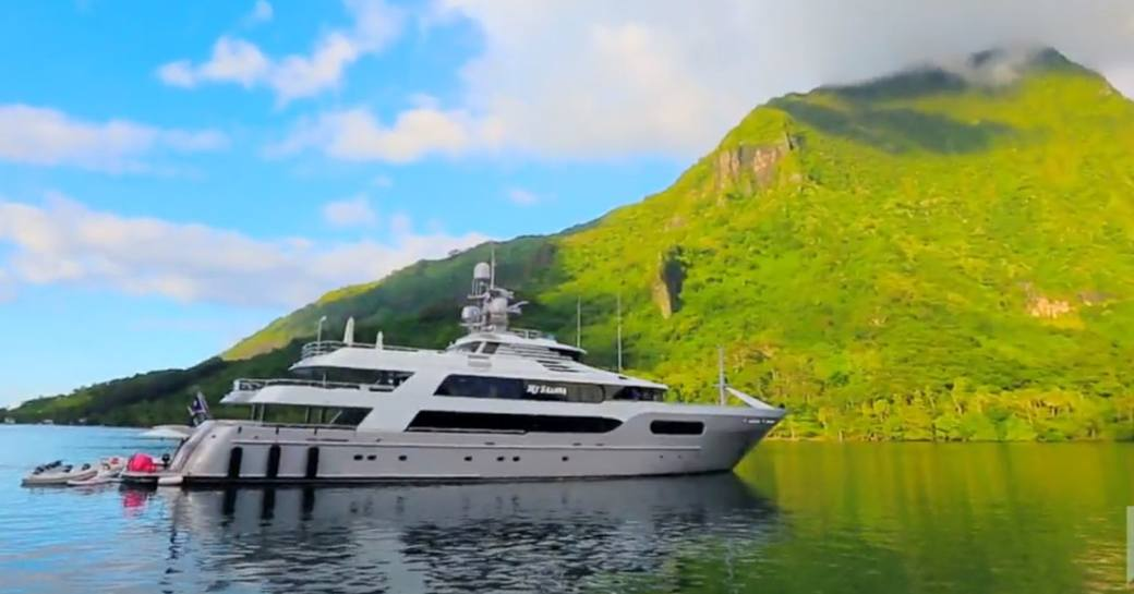 superyacht My Seanna anchors in Tahiti as part of Below Deck season 6 with Captain Lee Rosbach at the helm