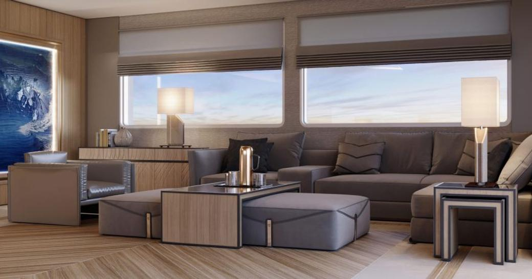 alkhor luxury yacht lounge area with sofa seating and large windows