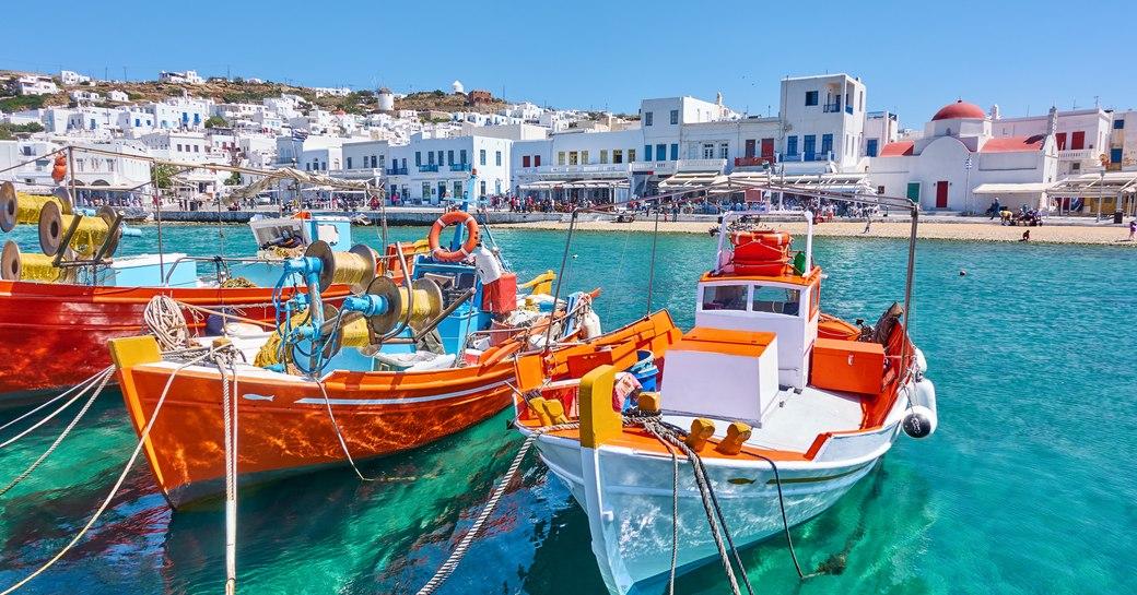 Boats moored at Mykonos marina