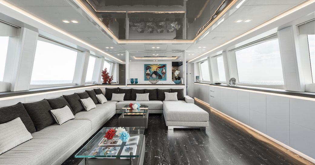 Main salon of superyacht SANDS