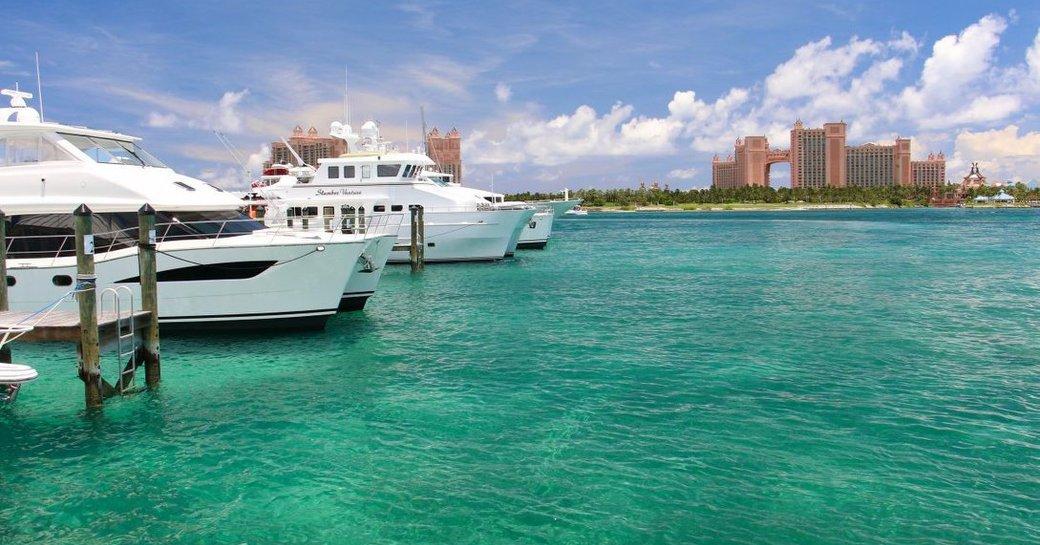 bahamas yachts, with atlantis hotel in background