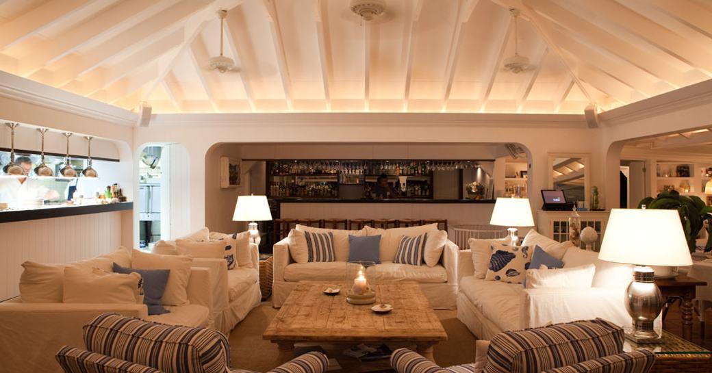 The fresh white furnishings and decor inside of Bonito restaurant