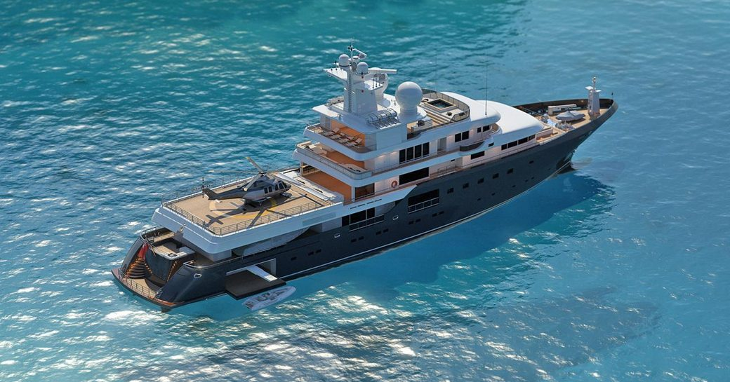 A graphic rendering showing expedition yacht 'Planet Nine'