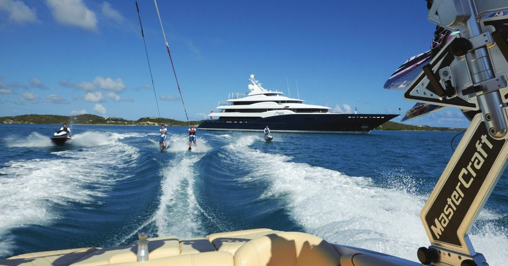 water toys and superyacht AMARYLLIS filmed from the tender