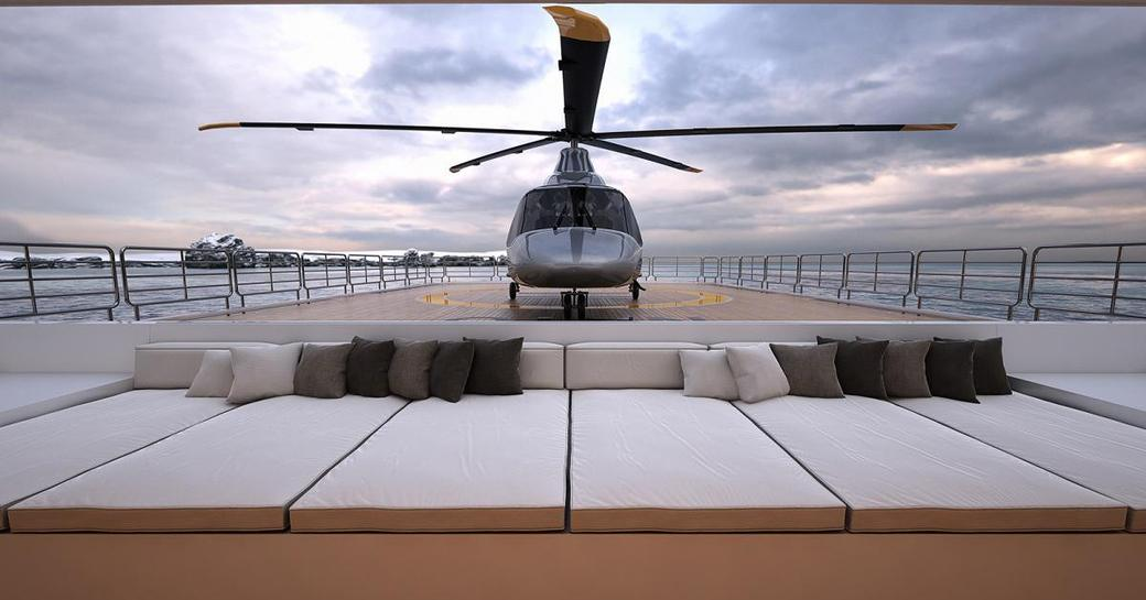 Helicopter on deck of Planet Nine superyacht that features in Tenet