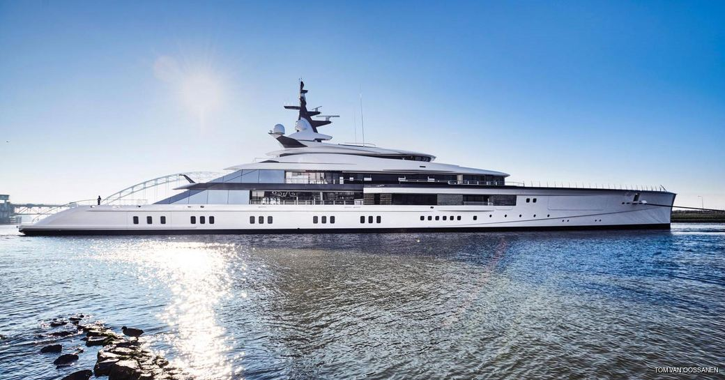 superyacht Project Bravo after she was launched at Oceanco shipyard