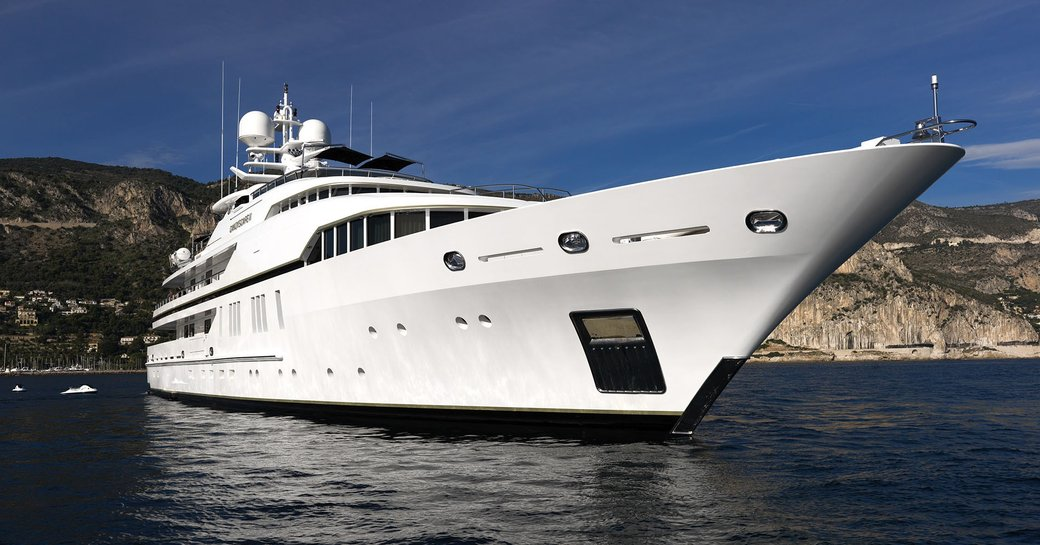 motor yacht SEALYON anchors on a luxury yacht charter