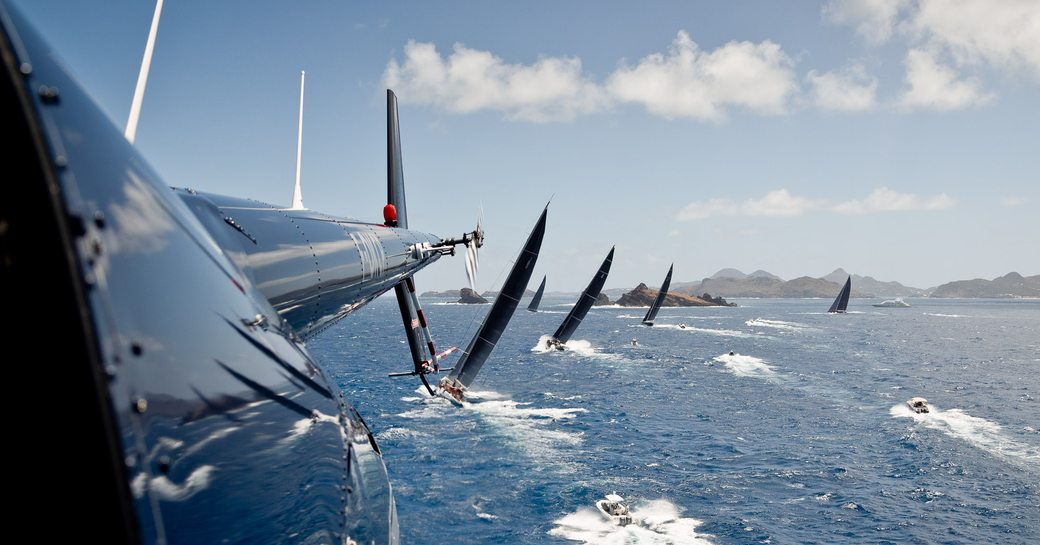 sailing yachts compete in St Barths Bucket