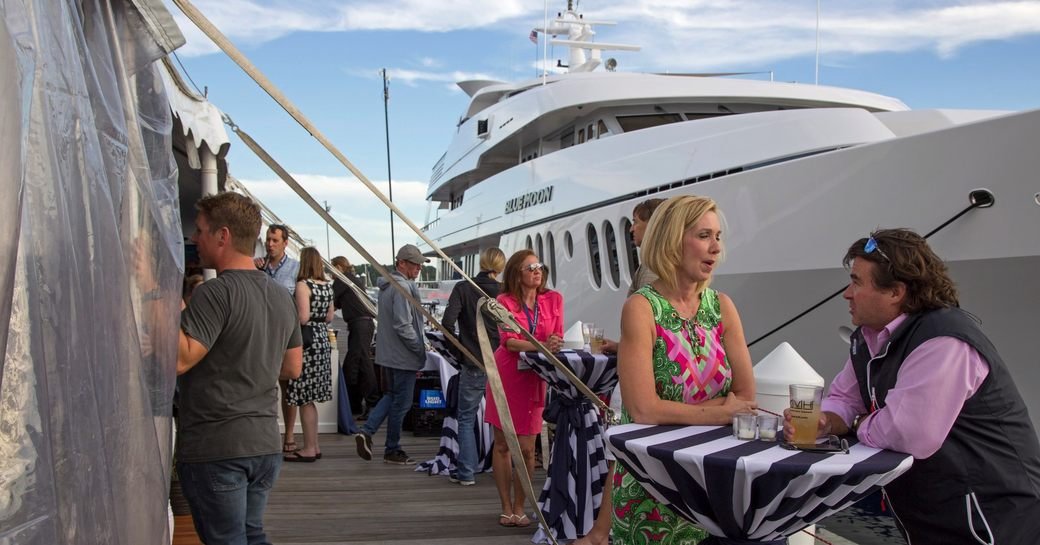 luxury yacht Blue Moon lined up at Newport Charter Yacht Show
