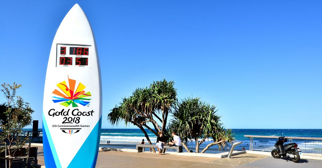 signage for the Gold Coast 2018 in Surfers Paradise, Australia