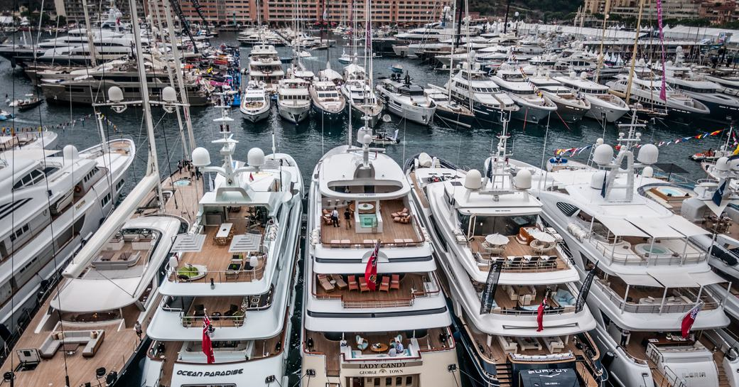 Boats lined up at the Monaco Yacht Show