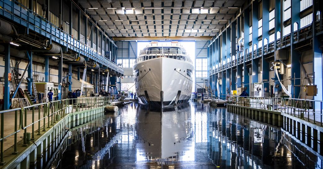 Feadship superyacht VIVA in shed