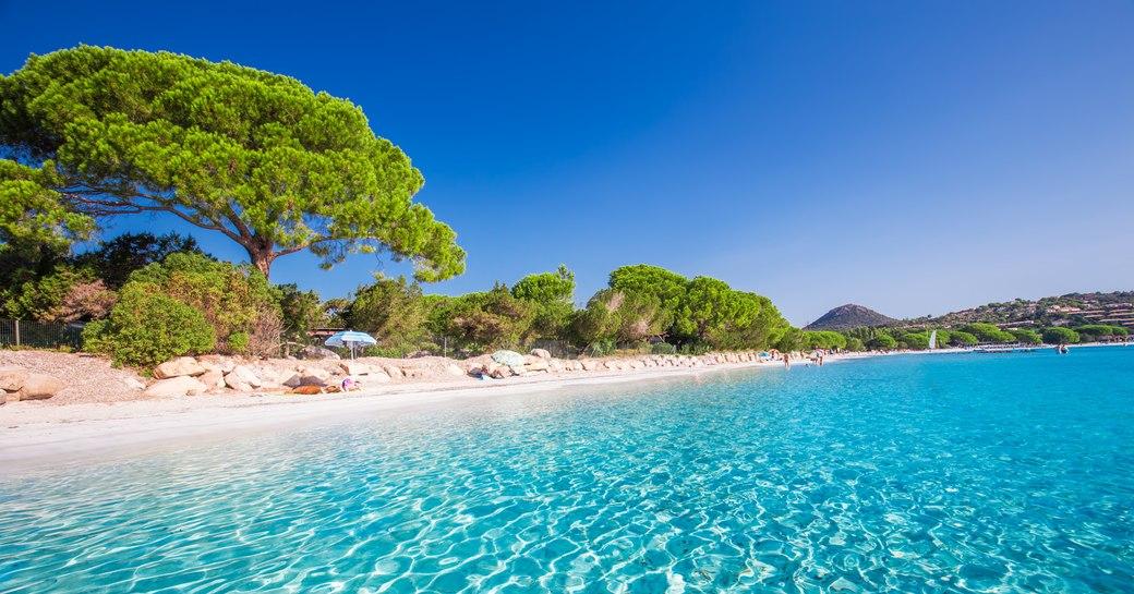Santa Giulia beach with a glittering lagoon in Corsica