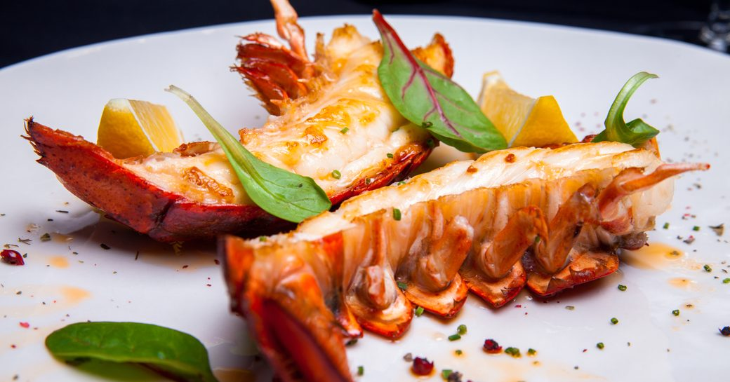 Anegada lobster served up on a Virgin Islands yacht charter